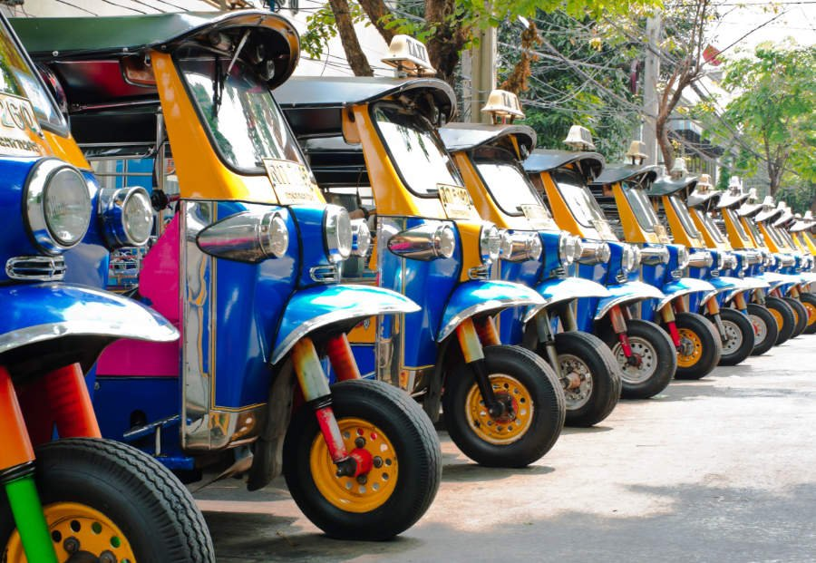 Tuk tuks taxi lined up in Bangkok, Thailand